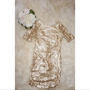Nasty Gal Gold Sequin Dress